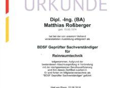 BDSF geprüfter Sachverständiger für Reinraumtechnik